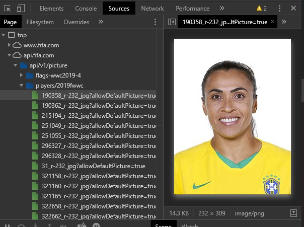 Picture of the API request which returns a photo of Marta, a Brazilian football player.